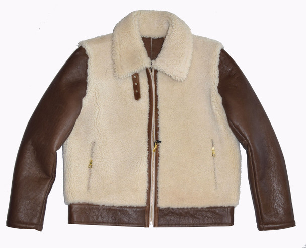 Sheepskin Out Tan and Brown Bomber Jacket