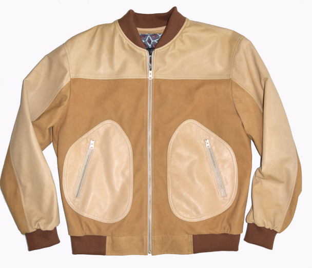 Tan Leather and Suede Baseball Jacket
