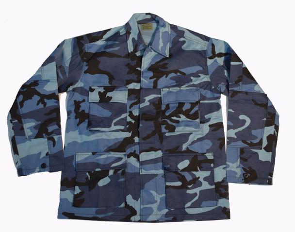 Blue Camo Shirt Jacket