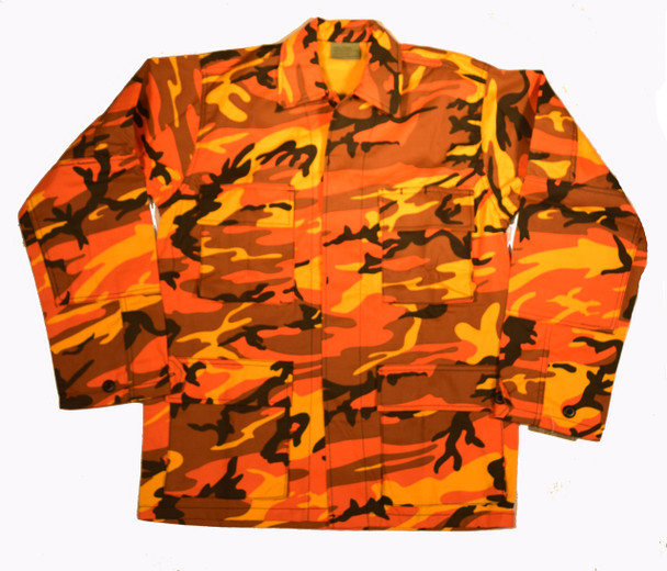 Savage Orange BDU Camo Military Shirt Jacket