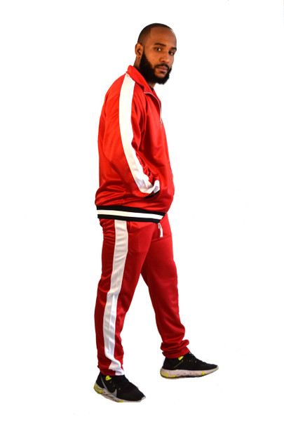 Red and White Track Suit