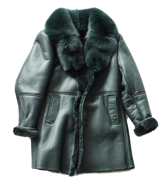 Emerald Green Three Quarter Shearling Sheepskin coat