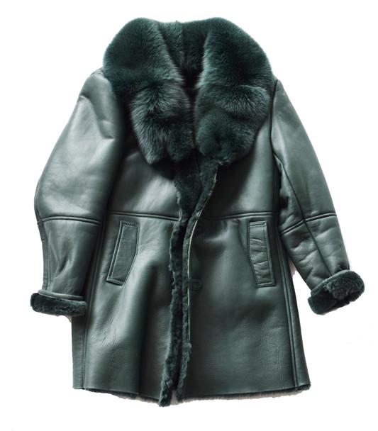 Emerald Green Three Quarter Shearling Sheepskin coat