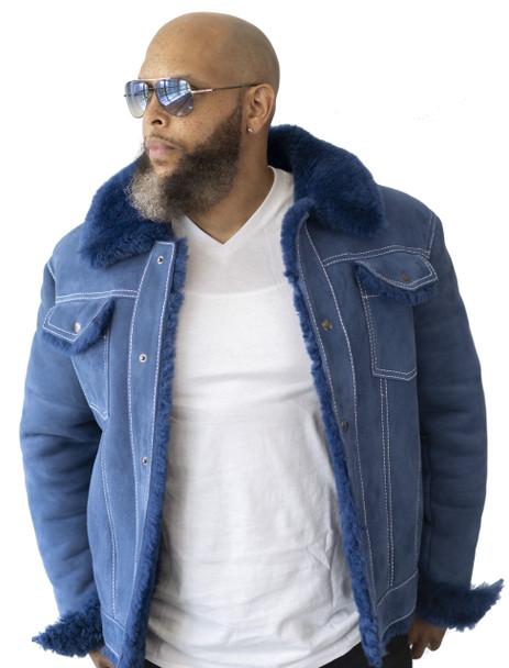 Blue Shearling Sheepskin 'Jean' Jacket