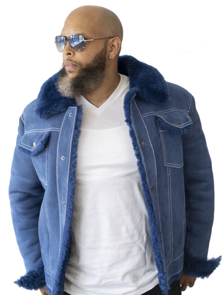 Blue Shearling Sheepskin 'Jean' Jacket