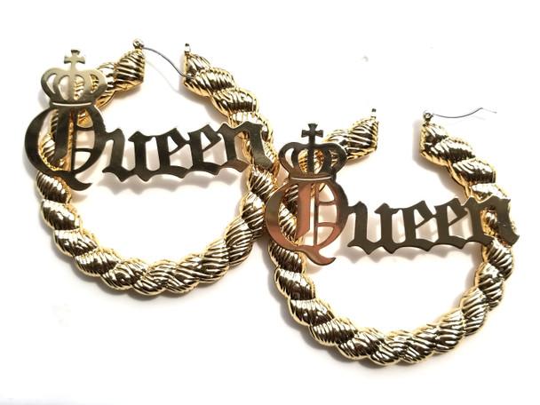 Queen Bamboo Hoop Earrings - Gold
