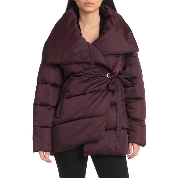 Ladies Burgandy Wrap Puffer Coat