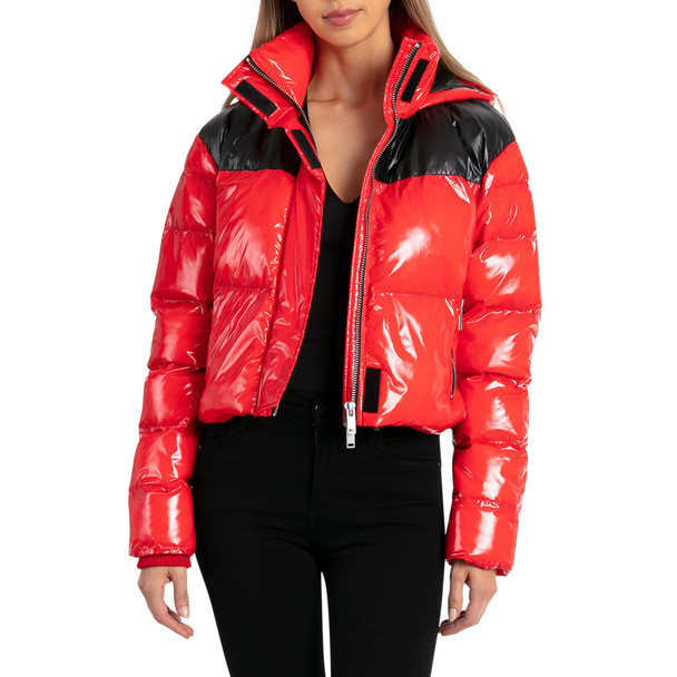 Bagatelle Red Puffer Cropped Patent Jacket