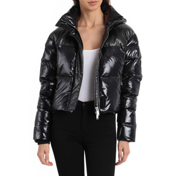 Bagatelle Black Puffer Cropped Patent Jacket