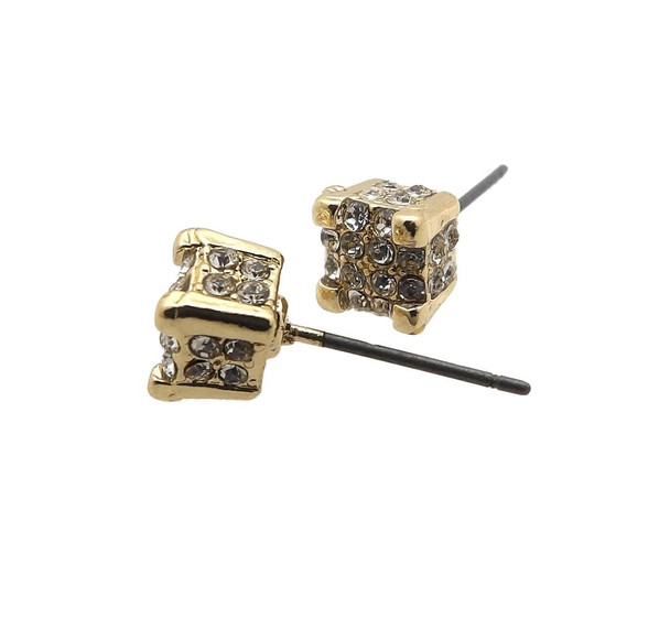 All Around Clout Gold Iced Out Stud Earrings
