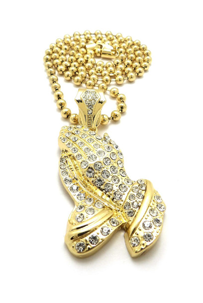 Iced Out Gold Prayer Hands Pendent Chain