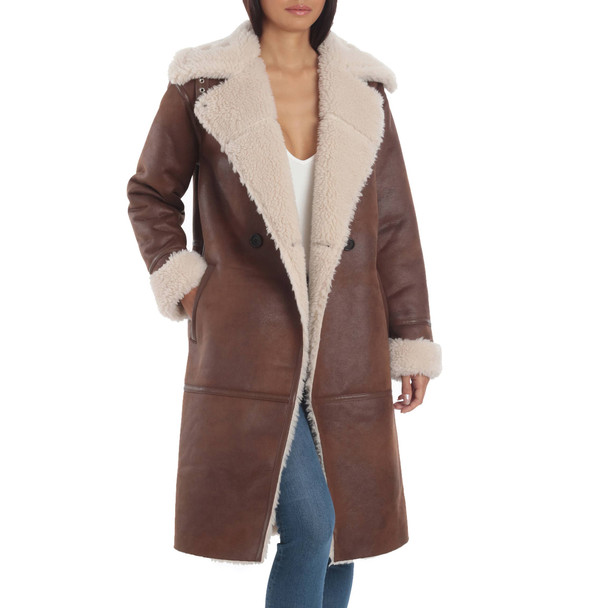 Faux Suede Sherpa Coat for Ladies