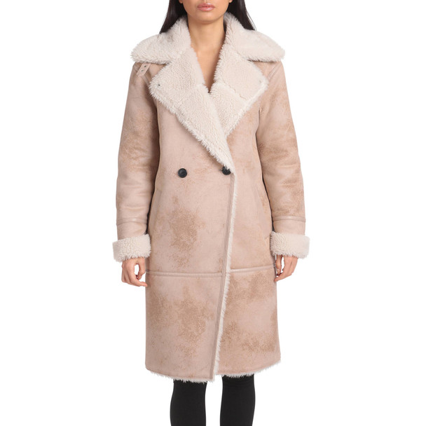 Tan Faux Suede Sherpa Coat for Ladies