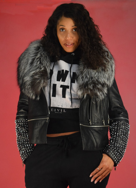 Studded Arm Moto Leather Jacket with Silver Fox Collar