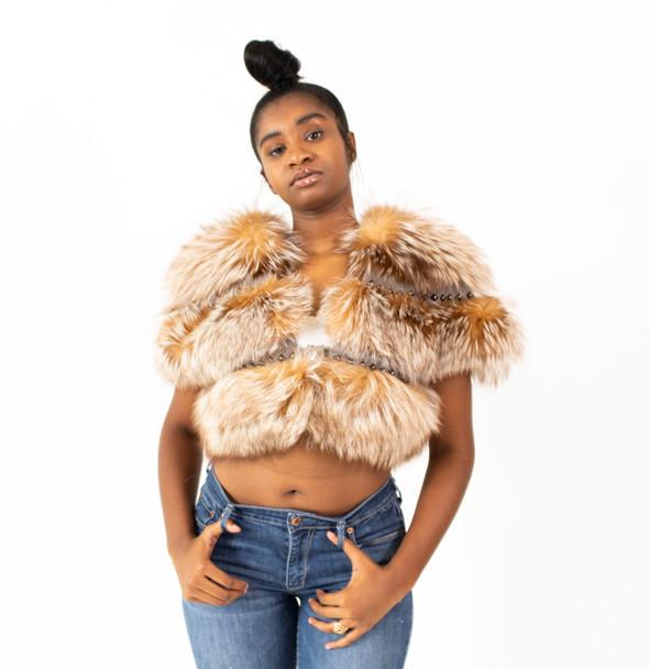 Ladies Cropped Sable Fox Fur Jacket
