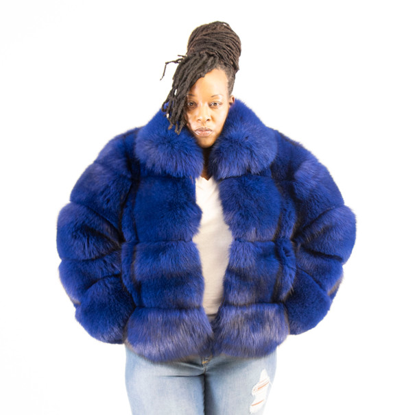 Ladies Blue Fox Jacket