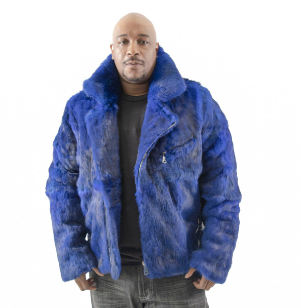 Mens Royal Blue Fur Biker Jacket