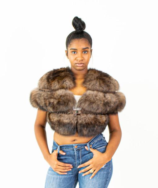 Ladies Brown Cropped Fox Fur Jacket