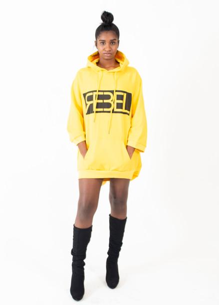 Rebel Oversized Yellow Hoodie Dress