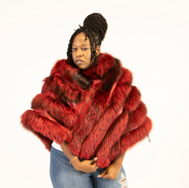 Women's Red Fox Fur Poncho