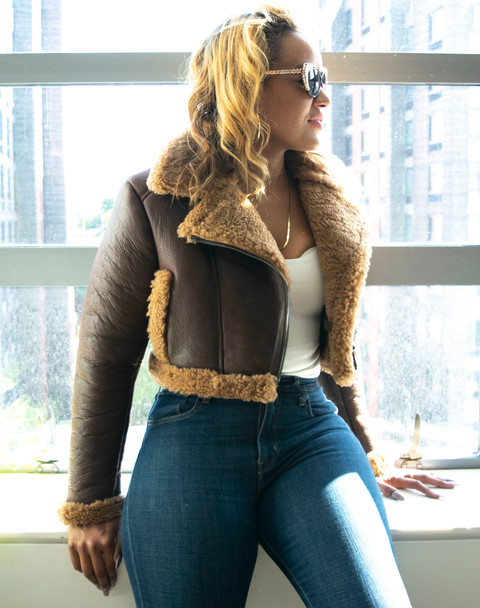 Ladies Cropped Sheepskin Shearling Jacket