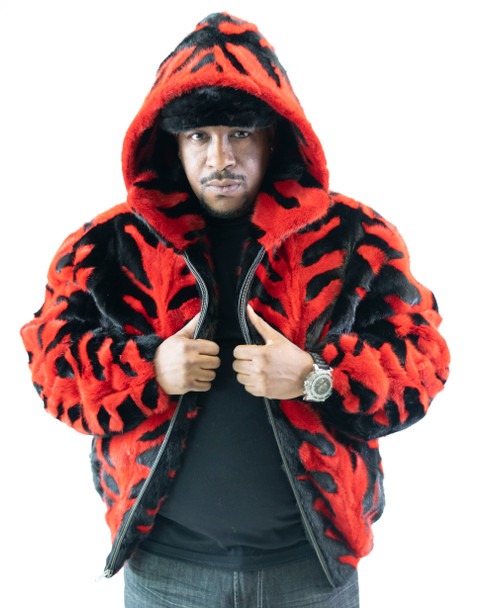 Red and Black Section Mink Pattern Bomber Fur Jacket