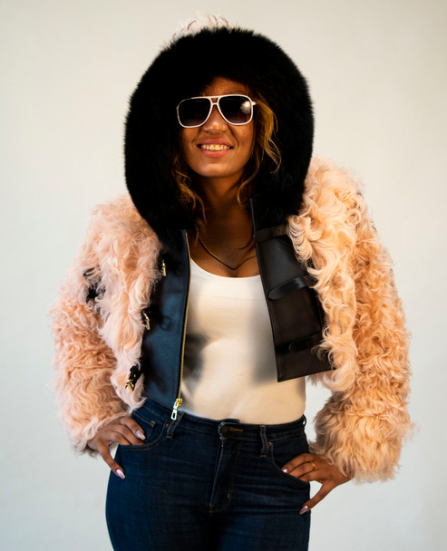 Pink Persian Lamb Jacket with Leather Trim