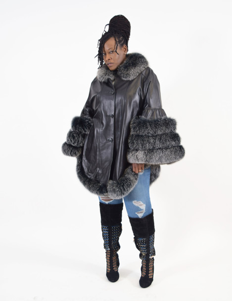 Leather Swing Coat with Fur Trim