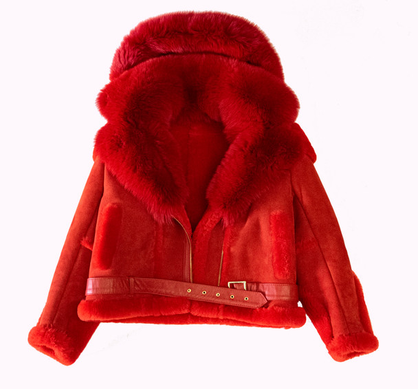 Red Sheepskin Shearling Pilot Jacket