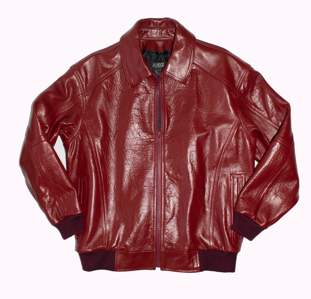 Red Baseball Leather Jacket Pelle Style