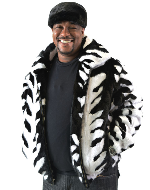 Black and White Mink Bomber Jacket with Detachable Hood