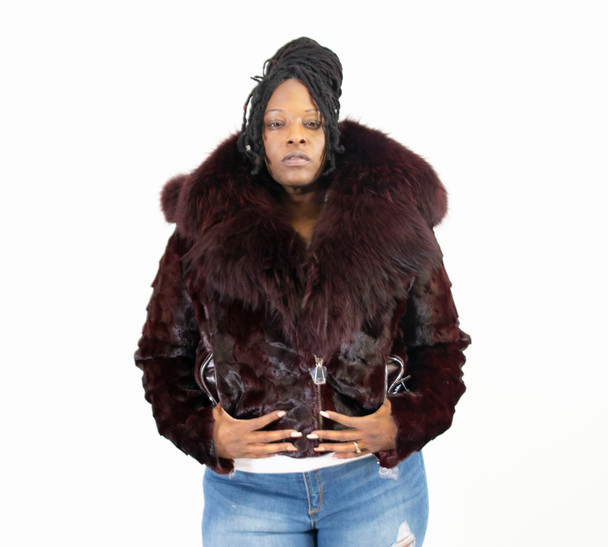 Burgandy Women's Diamond Mink Moto Jacket