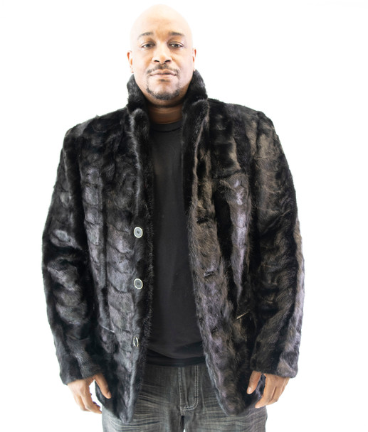 Black Section Mink Blazer