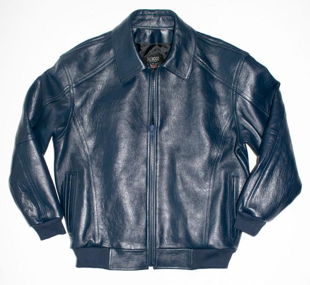 It's the 90s Navy Blue Leather Bomber Jacket