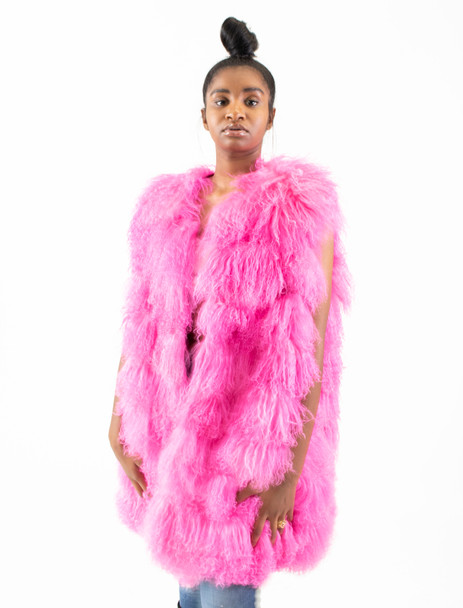 Ladies Pink Persian Lamb Fur Vest