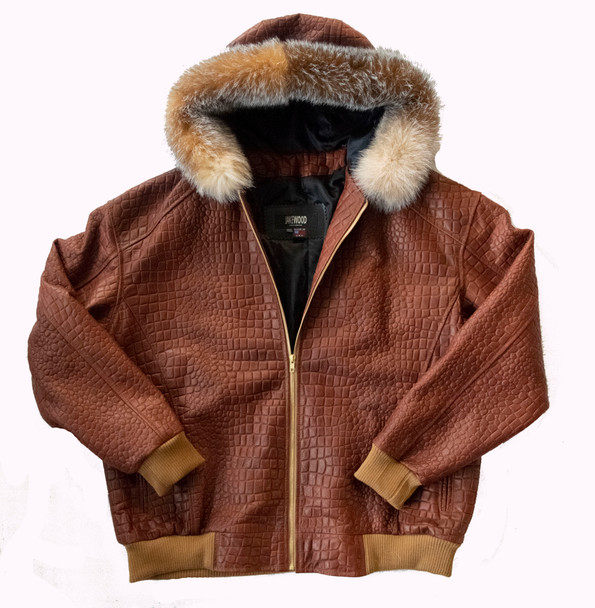 Tan Croc Look Snorkal Leather Jacket