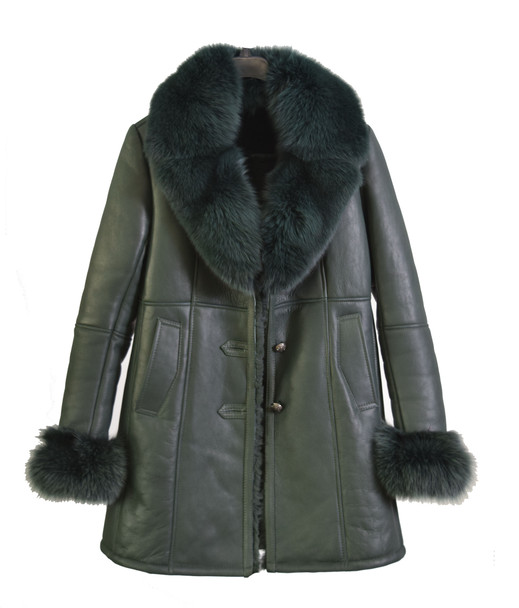 Ladies Emerald City three quarter shearling with fox fur trim