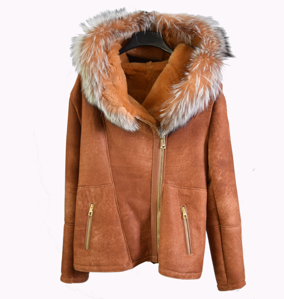 Ladies Cognac Side Zip Sheepskin with Fox Fur Hood