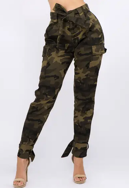 Camo Joggers with Ankle Tie