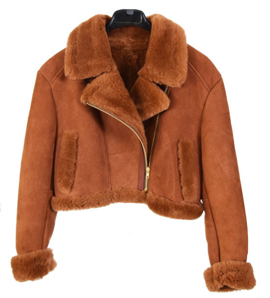 Ladies Cropped Cognac Sheepskin Jacket