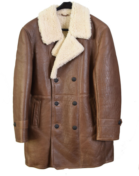 Brown Men's Trench Sheepskin Coat