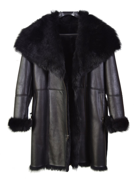 Black Ladies Three Quarter Merino Sheepskin