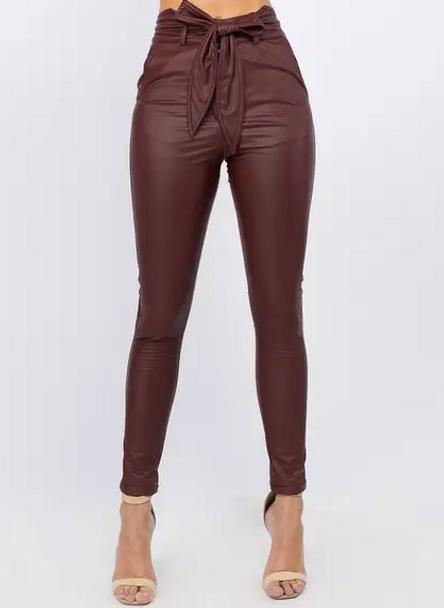 Faux Leather High Waist Pants