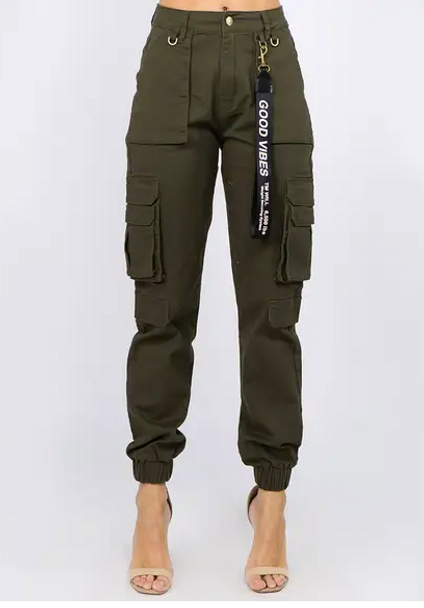 Good Vibes Olive Green Joggers