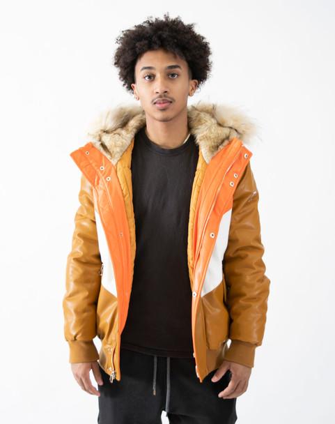 Tan Faux Leather V Bomber Jacket