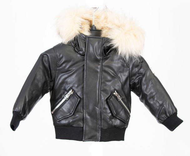 Children's Vegan Leather Black Bomber Jacket