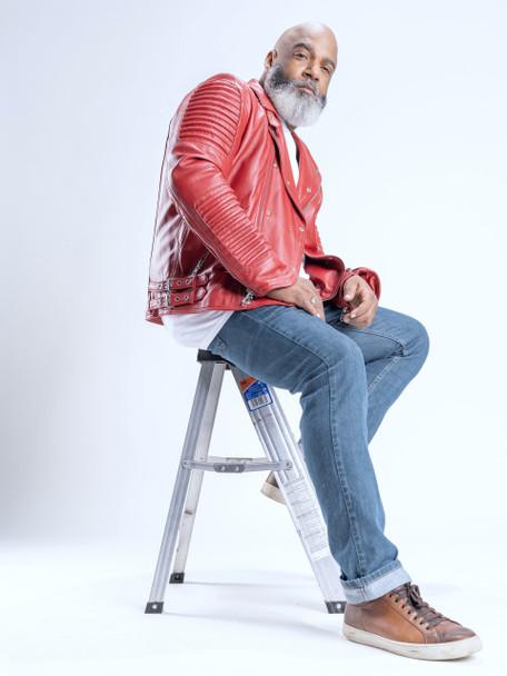 Red Moto Ribbed Arm Jacket