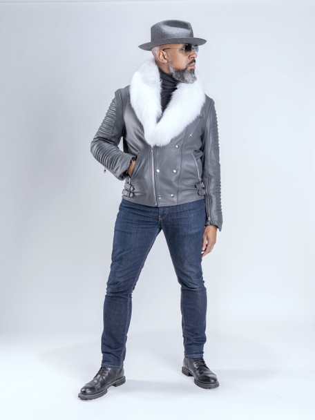 Gray Moto Jacket with Fur Collar