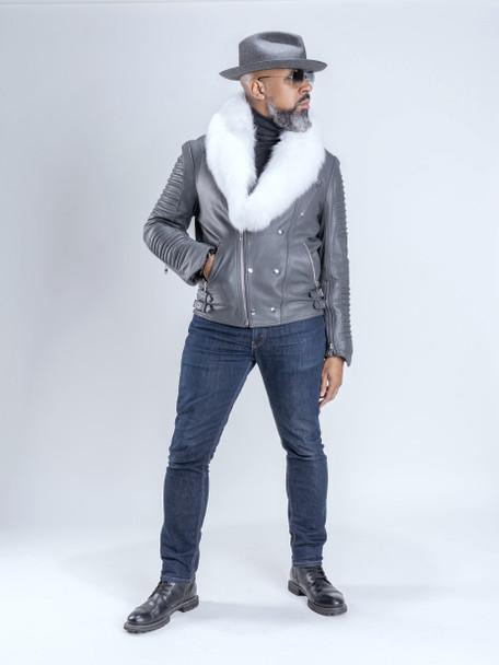 Gray Moto Jacket with Fur Collar