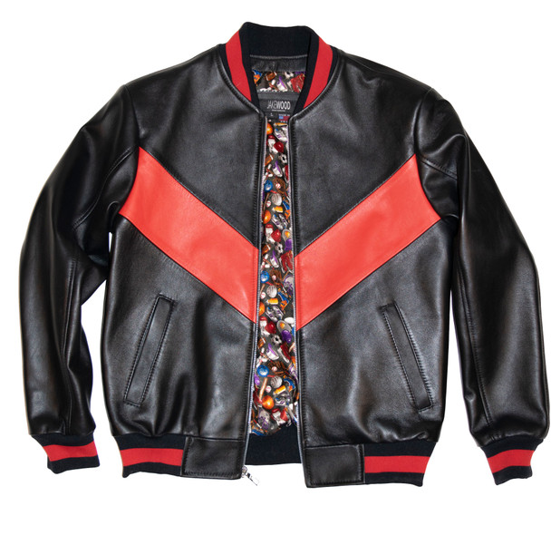Black and Red V Leather Jacket